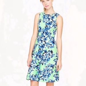 J. Crew 'photo floral' blue green sleeveless dress